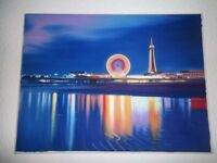 Blackpool Tower,Central Pier & Big Wheel, Large Oil Painting on Canvas.