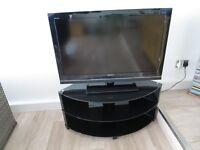 "Sony Bravia LCD Digital Colour 37"" inch TV and Black Glass TV unit"