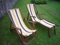Pair Of Vintage Retro Deckchairs