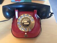 RED AND BLACK BAKELITE STYLE DIAL TELEPHONE