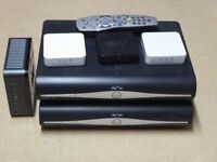 Sky HD boxes x 2 with remotes, modem and boosters - instant multiroom