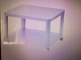 IKEA white side table on castors TINGBY 64x64cm brand new from box!