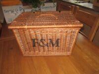 vintage F&M Fortnum and Mason wicker Hamper Picnic Basket log wood pot planter garden