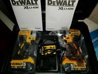 BRAND NEW DEWALT DCK266P2T brushless drill & Impact Driver and 2x 5.0Ah batteries
