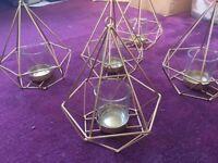 5X gold geometric tea light candle holder lanterns