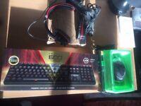 Gaming Keyboard & Mouse + Headset + Streaming Mic