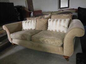 Sandy Gold Fabric Sofa settee Quality on castor wheels Delivery Poss