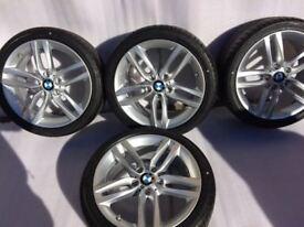 Like new Msport BMW alloys wheels with like new Bridgeston run flat tyres for 1 or 2 series 18 inch