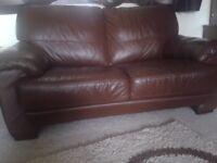 Brown Leather Sofas and free matching mirror - Very good quality soft leather