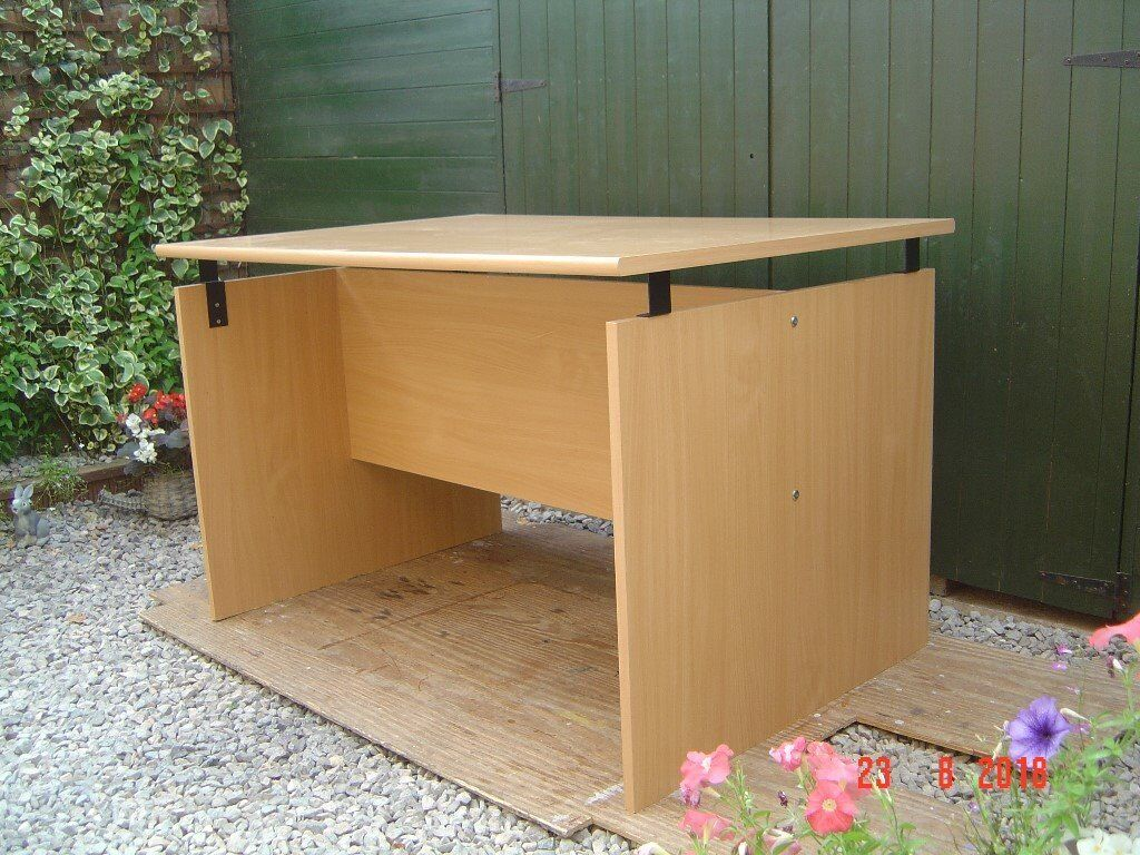 office desk table. Teak Veneered Office Desk / Table. Large Enough For Two People To Use. Can Deliver. Table