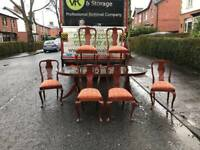 Beautiful mahogany Rossmore dining table and 6 chairs with brass claw feet £125