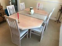 Solid-wood Limed Oak table and 6 chairs