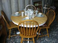 SOLID PINE ROUND TABLE & 4 STURDY PINE CHAIRS. VIEWING / DELIVERY AVAILABLE