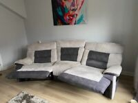 4 & 3 seaterSofa reclining Cord /suede Grey