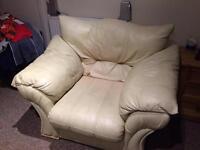 Cream Leather Single Armchair