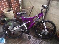 Adult Mountain Bike - Dunlop Sport Purple - 18 Gears Full Suspension