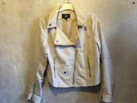 ***Ladies H&M Faux Leather Beige Biker Style Jacket Size 8/36 used £7