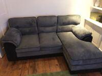 Grey, cord, left hand corner sofa
