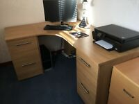LARGE CORNER DESK/DRAWERS/FILING CABINET - OAK EFFECT