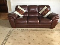 Leather 3 2 and foot stool imacculate