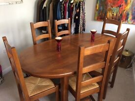 Oak Extendable Dining Table and 6 Chairs 190-270 cm