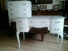 VINTAGE Regency Style Knee Hole Dressing Table and Chest of Drawers