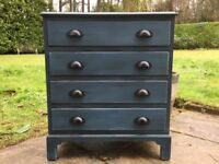Hand painted solid wood reproduction small chest of drawers