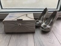 Silver dune shoes and matching bag size 4 (37) Wedding, occasional, dress shoes