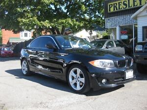 2012 BMW 1 Series 128i 6 cyl  coupe blk on blk leather sunroof