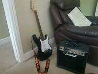 Stagg guitar with Marshall amp