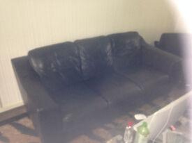 Dark Brown 3 Seater Leather Sofa