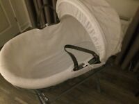 White Moses basket with grey cross stand immaculate condition