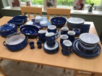 Huge collection of Denby blue dinner set, coffee cups etc