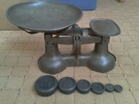 Antique Kitchen Scales with a full set of weights, perfect working order