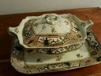 Old turine dish with platter