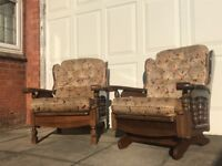 Solid Wood Rocking Chair and Armchair