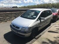 Silver Vauxhall Zafira 7 Seater People Carrier
