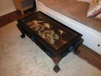 chinese Coffee Table (rectangular) gloss Black lacquer, Mother of Pearl . two oriental wall panels