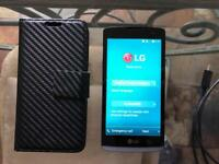 LG Leon 4G LTE with charger and flip case
