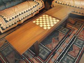 Dark Wood Coffee Table containing Hidden Chess Board