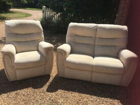 Comfy cream chair and sofa - good condition