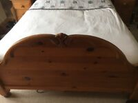Solid pine king size bed frame and drawers v g c