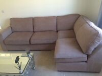 Sofa and pouffe available for immediate sale, 2nd hand but hardly been used and good as new.