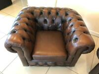 STUNNING CHESTERFIELD CLUB CHAIR IN CHESTNUT BROWN LEATHER