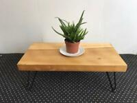 Upcycled coffee table with hair pin legs