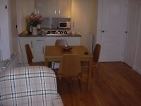 IKEA OAK VENEER TABLE (BJURSTA) AND 4 CHAIRS (VLMAR)