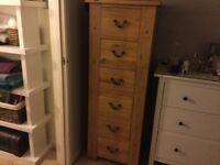 Solid Oak 6 drawer Tallboy