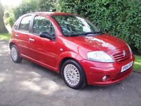 2004 Citroen C3 Exculsive 5 dr 1.6 in red with low mileage and long MOT