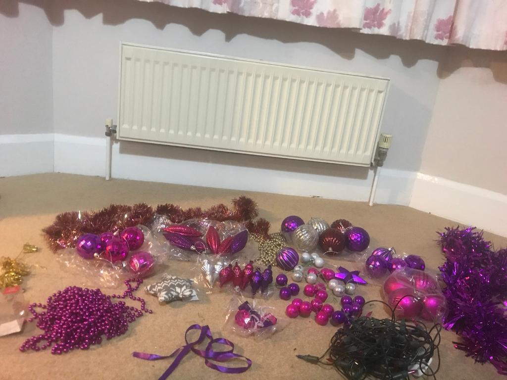 Pink and purple Christmas decorations bundle