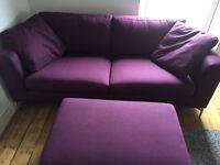 Furniture Village 3 piece Apex set, indigo blue/purple, large sofa, large footstool and chair
